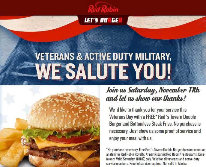 RedRobin.com Promo Coupon Free double burger + bottomless fries for military Saturday at Red Robin