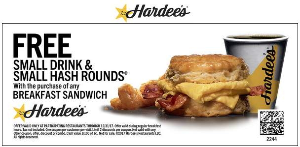 Hardees Coupon October 2018 Free hash + drink with your breakfast sandwich at Hardees