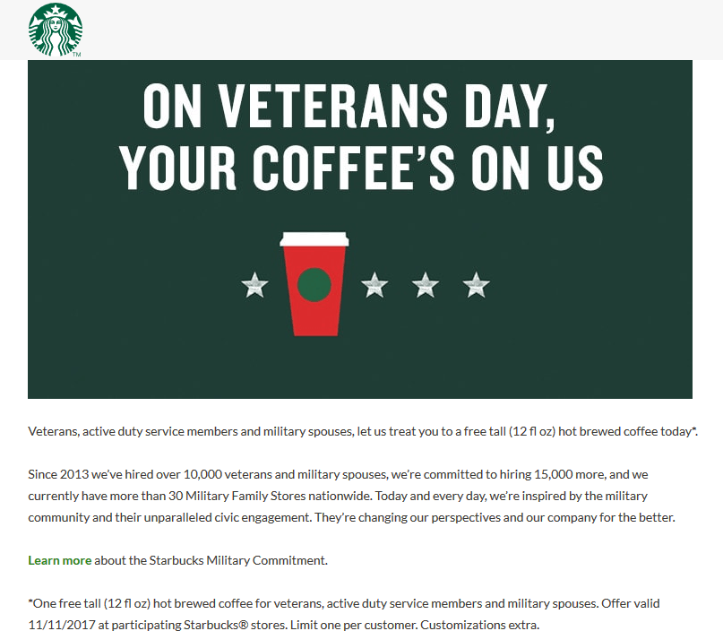 Starbucks Coupon October 2018 Military + spouses enjoy a free coffee today at Starbucks
