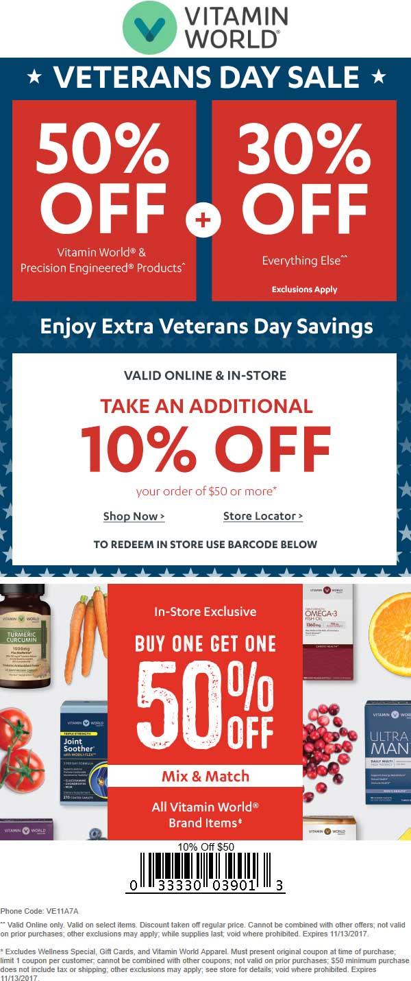 VitaminWorld.com Promo Coupon 10-50% off at Vitamin World, or online via promo code VE11A7A