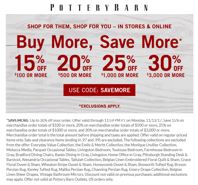 pottery barn coupons 15 30% off $100 at pottery barn, or onlinepottery barn coupon june 2019 15 30% off $100 at pottery barn,