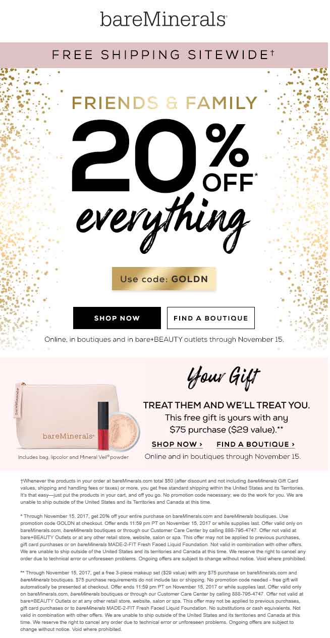 bareMinerals Coupon September 2018 20% off everything at bareMinerals, or online via promo code GOLDN