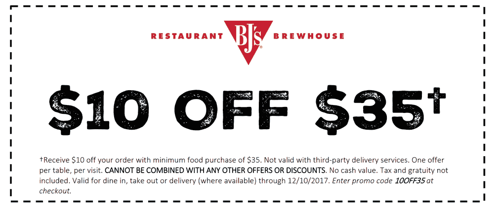 BJs Restaurant Coupon December 2017 $10 off $35 at BJs Restaurant