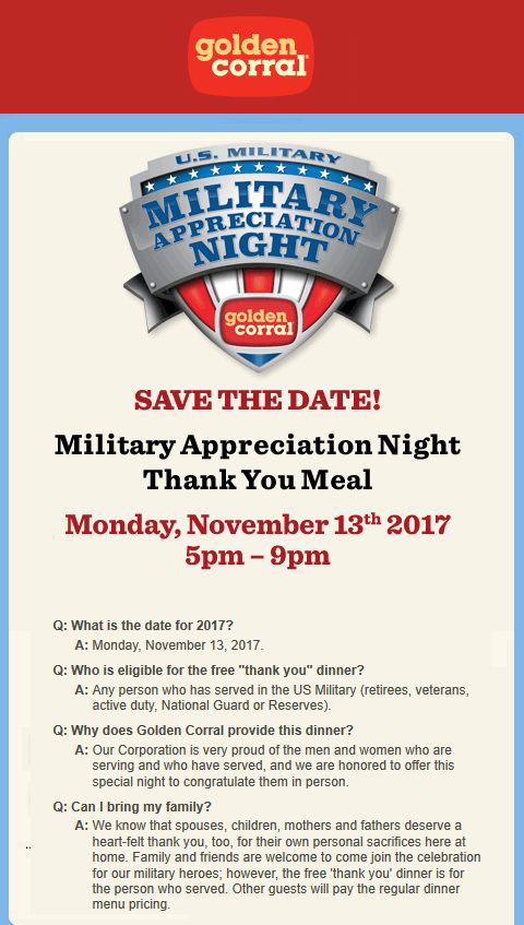 GoldenCorral.com Promo Coupon Military enjoy a free dinner tonight at Golden Corral