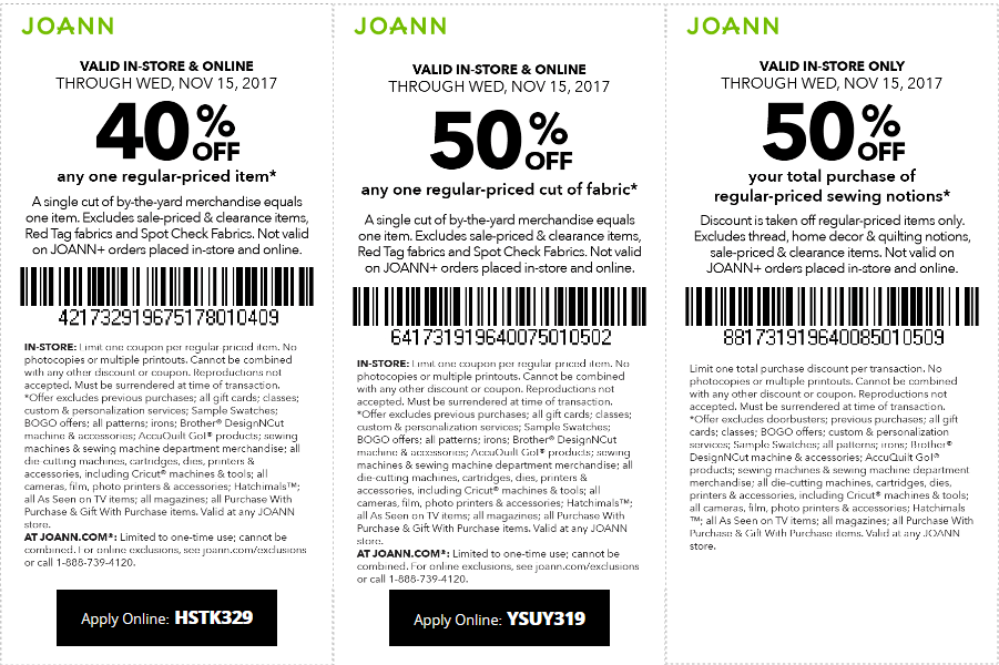 Jo-Ann Fabric Coupon November 2018 40% off a single item & more at Jo-Ann Fabric, or online via promo code HSTK329