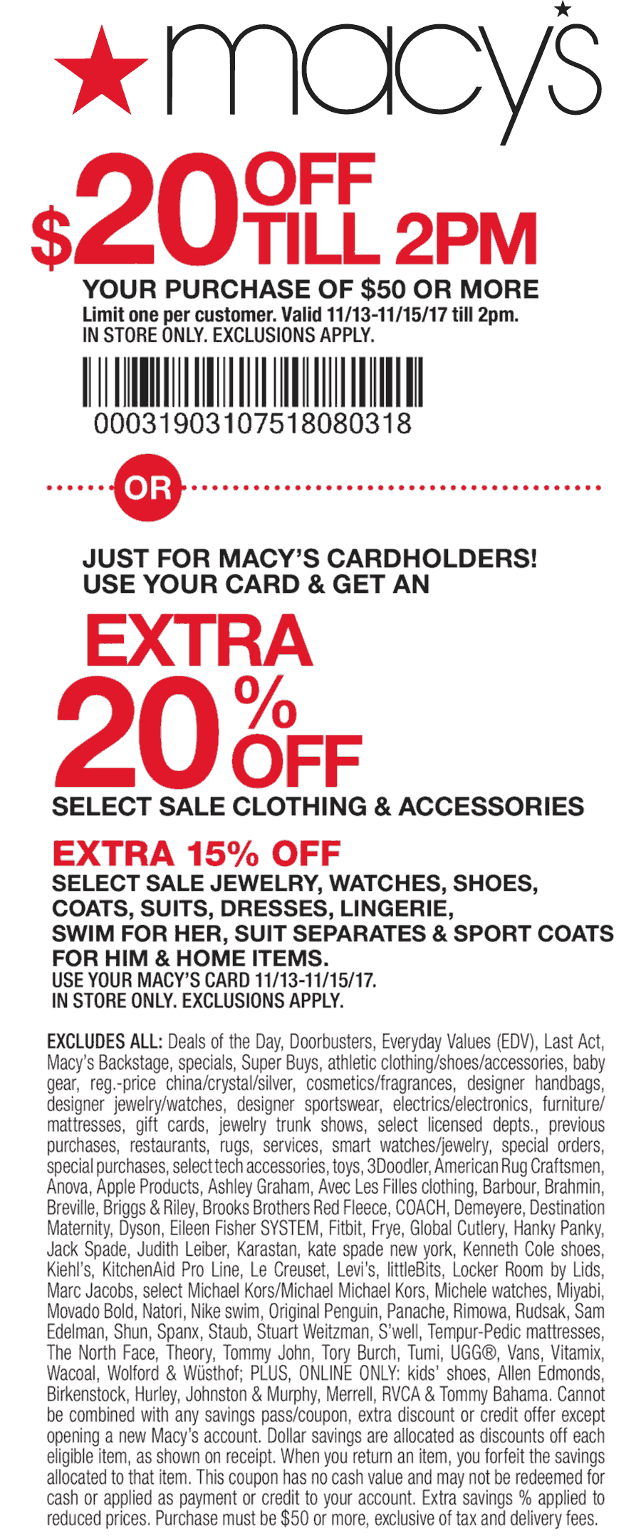 Macys Coupon December 2017 $20 off $50 til 2p at Macys