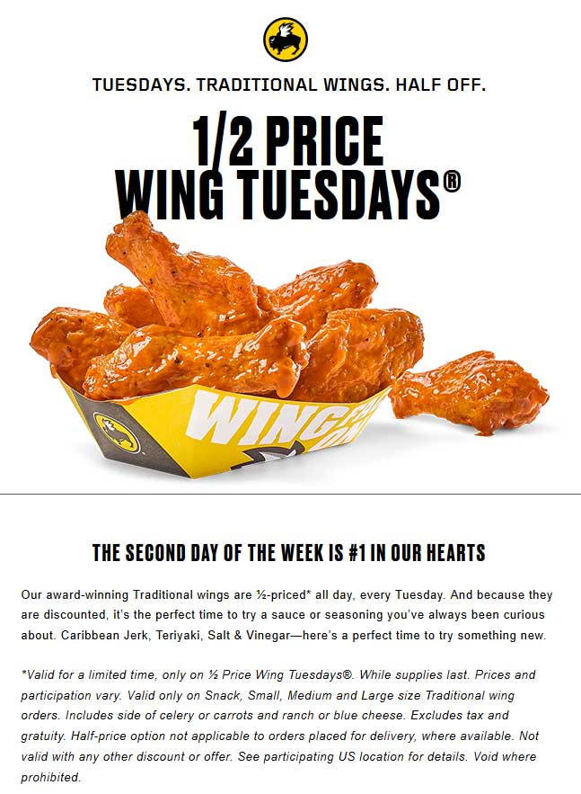 photo regarding Buffalo Wild Wings Printable Coupons named Buffalo Wild Wings Discount codes - 50% off wings nowadays at Buffalo