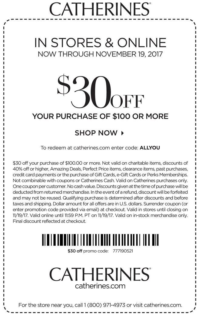 Catherines Coupon November 2017 $30 off $100 at Catherines, or online via promo code ALLYOU