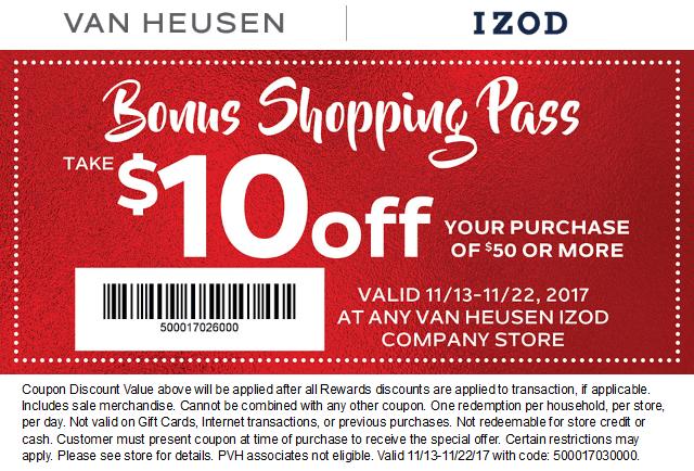 Van Heusen Coupon January 2018 $10 off $50 at Van Heusen & IZOD