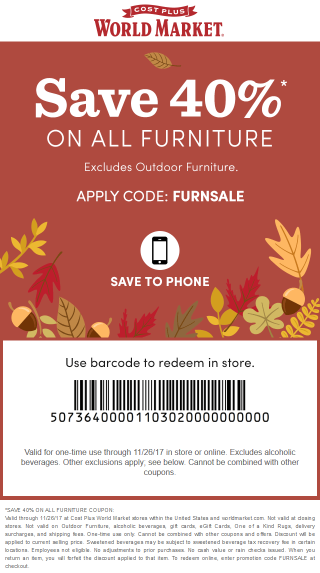 World Market Coupon November 2017 40% off furniture at Cost Plus World Market, or online via promo code FURNSALE