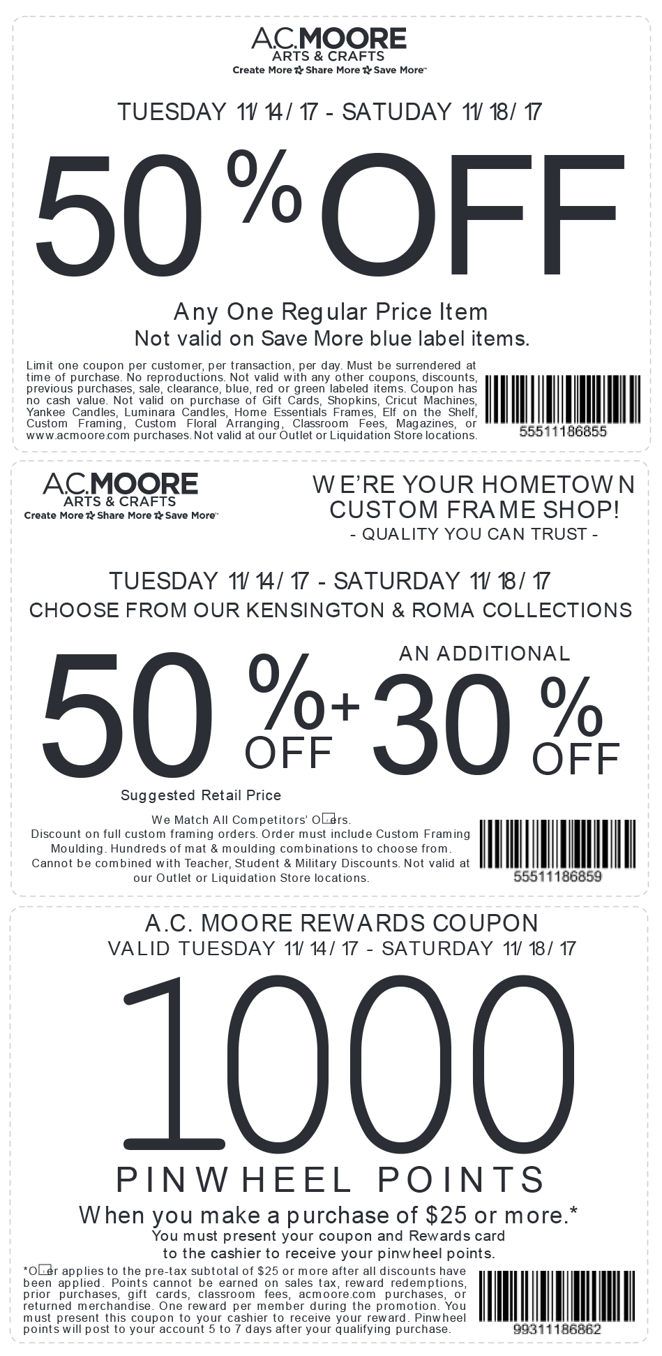 A.C.Moore.com Promo Coupon 50% off a single item at A.C. Moore