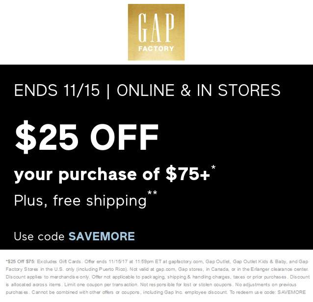 Gap Factory Coupon March 2019 $25 off $75 today at Gap Factory, or online via promo code SAVEMORE
