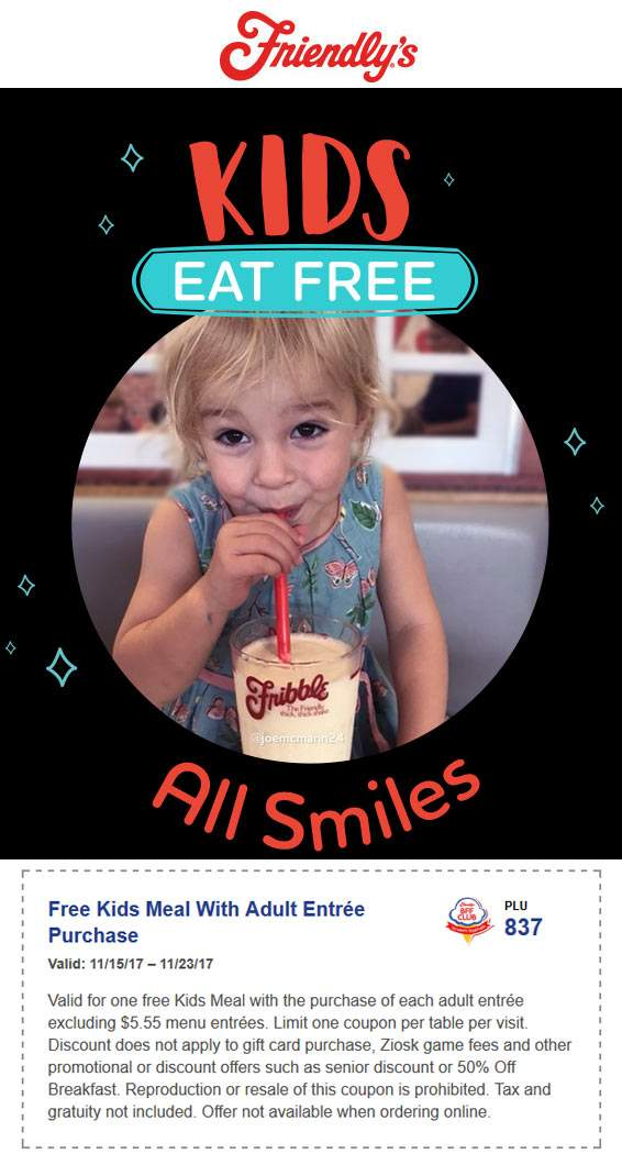 Friendlys Coupon February 2019 Kids eat free with your entree at Friendlys