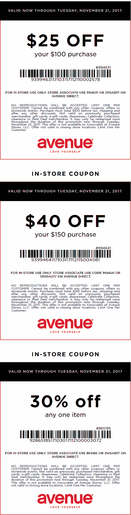 Avenue Coupon October 2018 $25 off $100 & more at Avenue, or online via promo code YES25