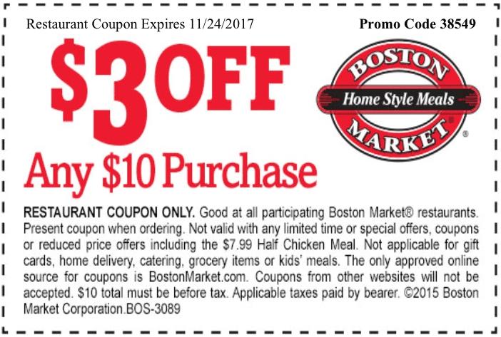 BostonMarket.com Promo Coupon $3 off $10 at Boston Market restaurants