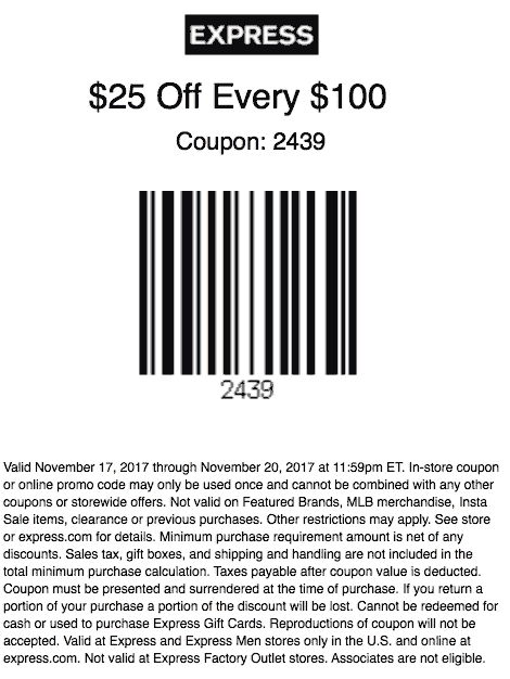 Express Coupon August 2018 $25 off every $100 at Express, or online via promo code 2431