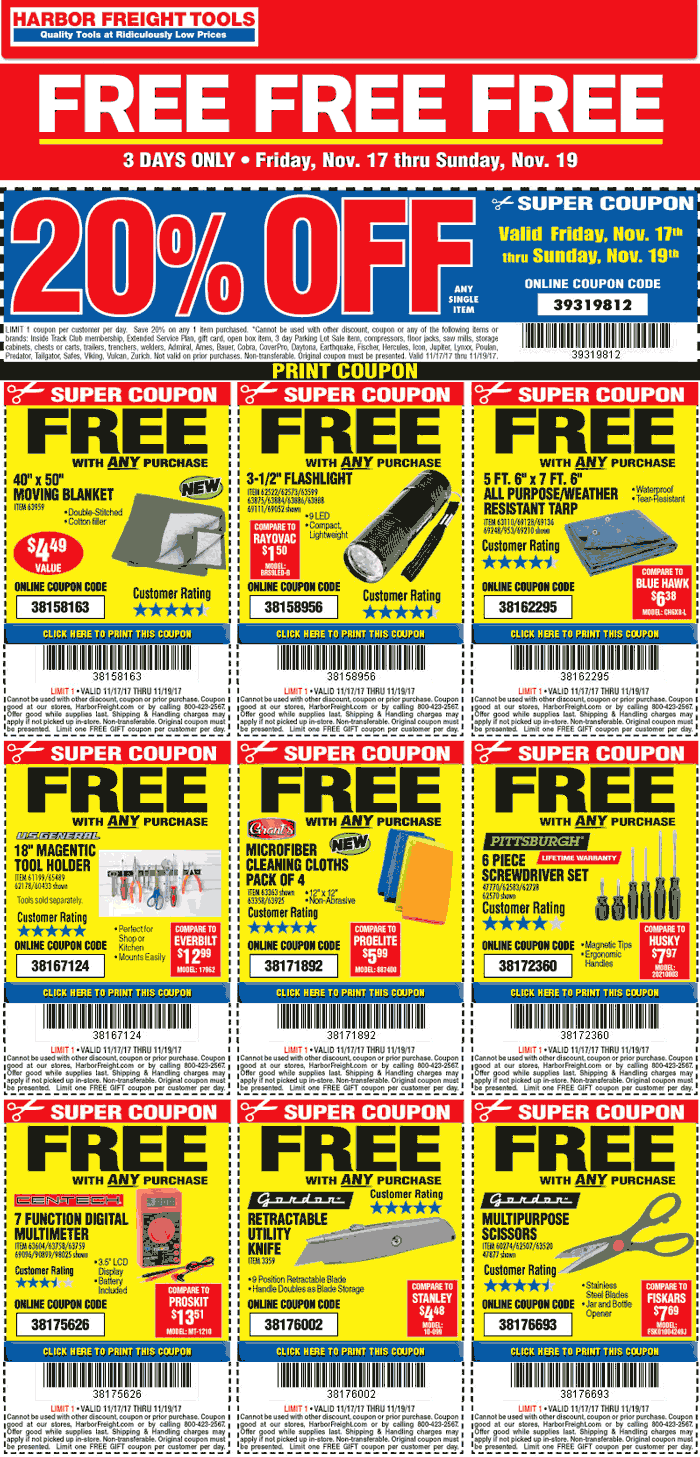 HarborFreightTools.com Promo Coupon 20% off a single item at Harbor Freight Tools, or online via promo code 39319812