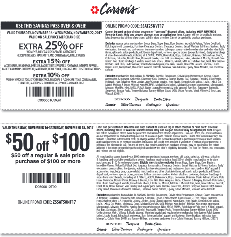 Carsons.com Promo Coupon Extra 25% off at Carsons, Bon Ton & sister stores, or online via promo code SSAT25NVF17