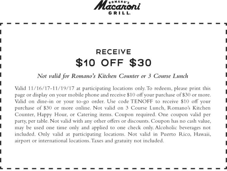 MacaroniGrill.com Promo Coupon $10 off $30 at Macaroni Grill restaurants
