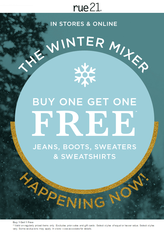 Rue21 Coupon December 2018 Second winter gear item free at Rue21, ditto online
