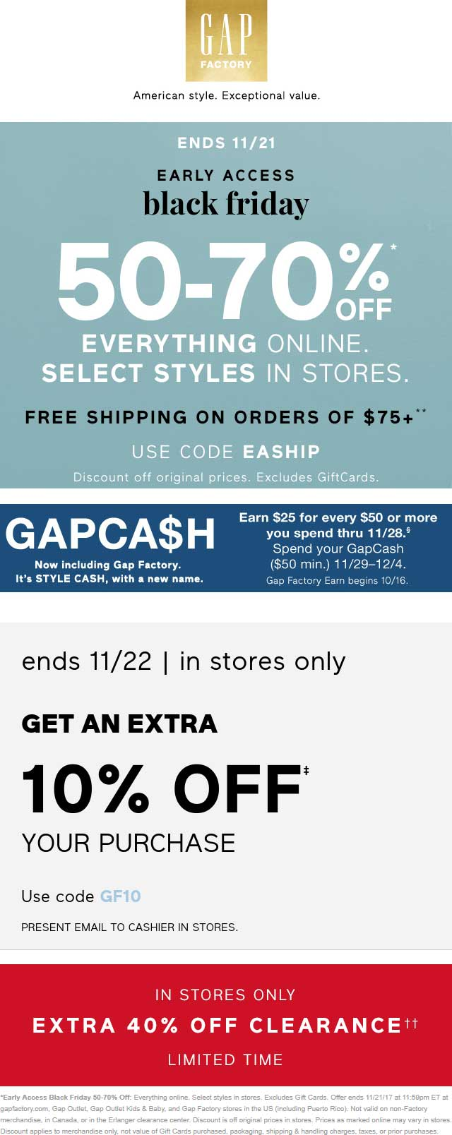 Gap Factory Coupon October 2018 50-70% off at Gap Factory, or online via promo code EASHIP