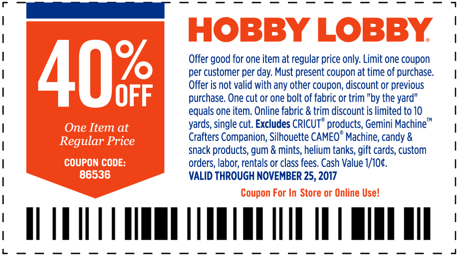 Hobby Lobby Coupon August 2018 40% off a single item at Hobby Lobby, or online via promo code 86536