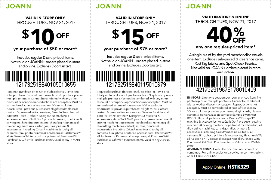 Jo-Ann Fabric Coupon July 2018 $10 off $50 at Jo-Ann Fabric, or 40% off online via promo code HSTK329