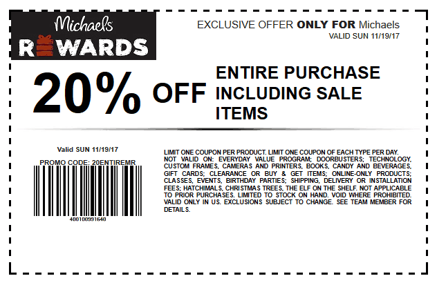 Michaels.com Promo Coupon 20% off everything at Michaels, or online via promo code 20ENTIREMR