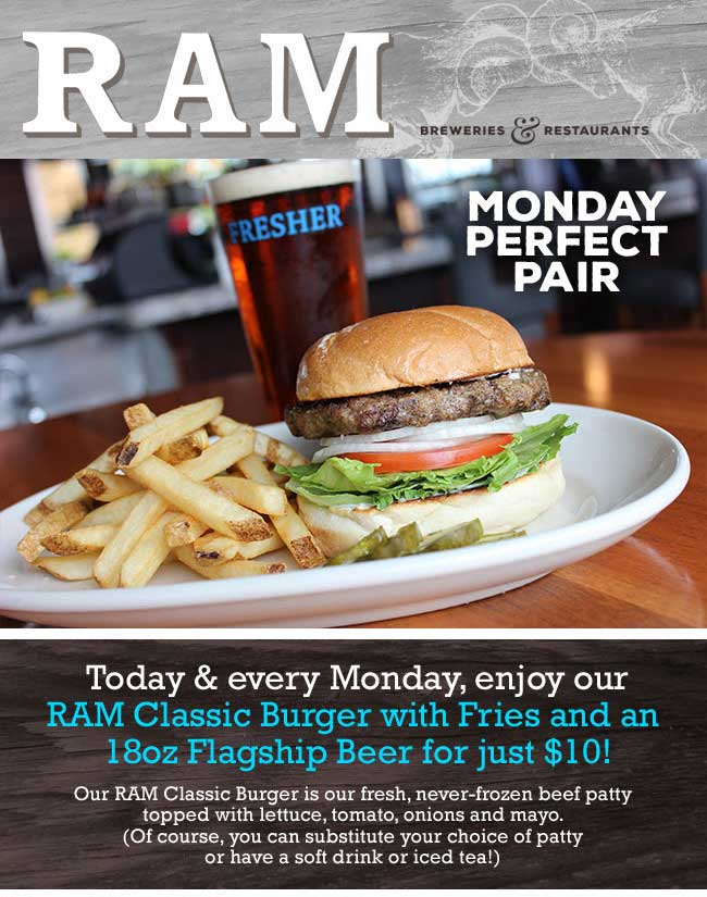 RAM Coupon December 2018 Burger + fries + beer = $10 today at RAM restaurants