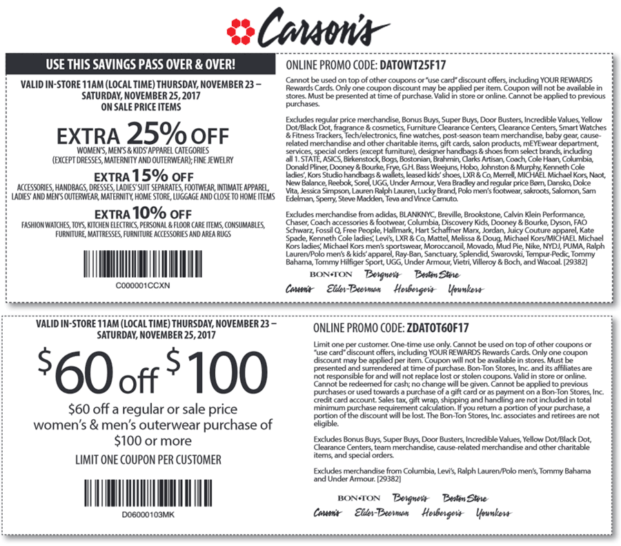 Carsons.com Promo Coupon Extra 25% off & more at Carsons, Bon Ton & sister stores, or online via promo code DAT0WT25F17
