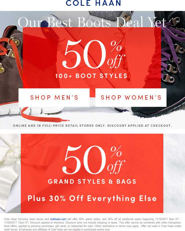 Cole Haan Coupon October 2018 30-50% off at Cole Haan, ditto online