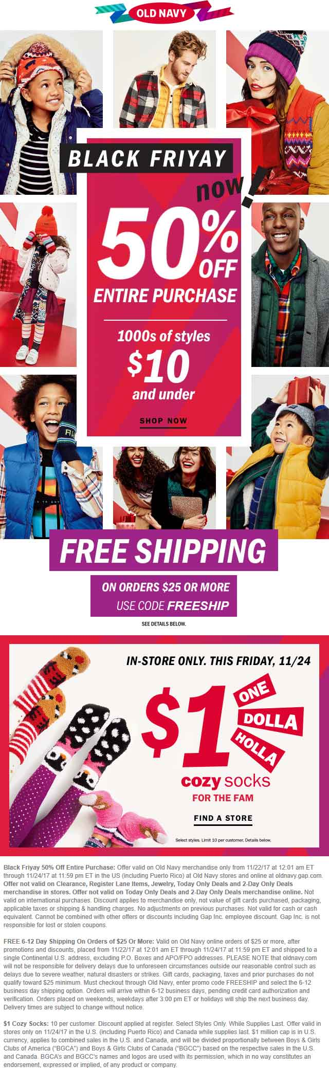 Old Navy Coupon June 2018 50% off everything at Old Navy, ditto online