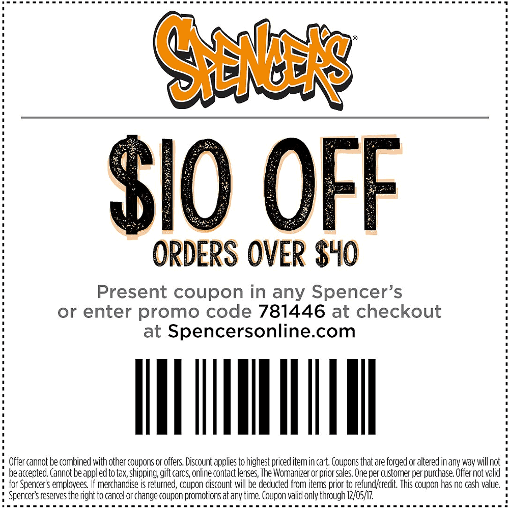 Spencers Coupon August 2018 $10 off $40 at Spencers, or online via promo code 781446