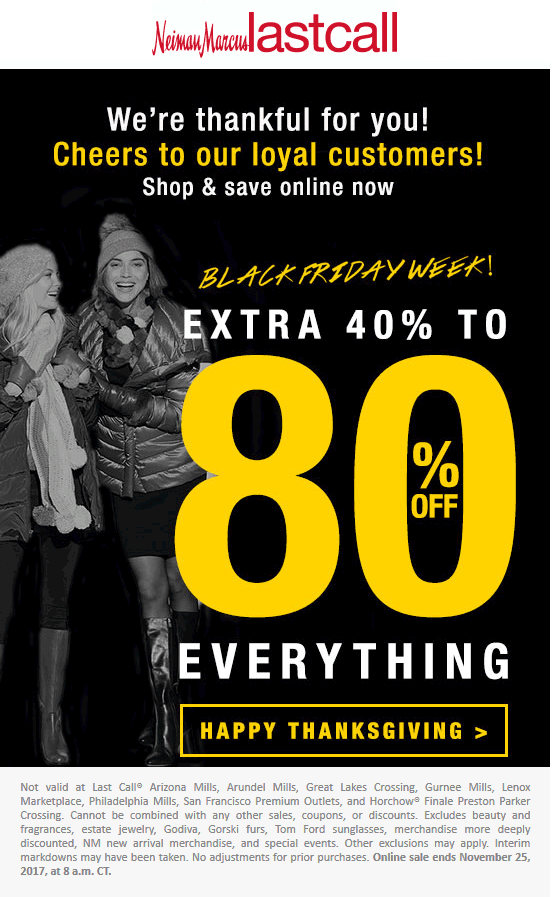 LastCall.com Promo Coupon 40-80% off everything at Neiman Marcus Last Call