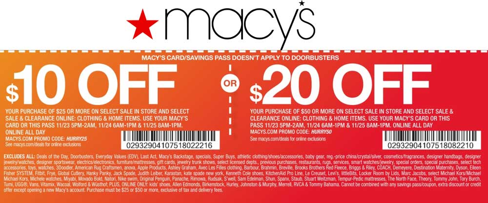 Macys Coupon August 2018 $10 off $25 & more at Macys, or online via promo code HURRY25
