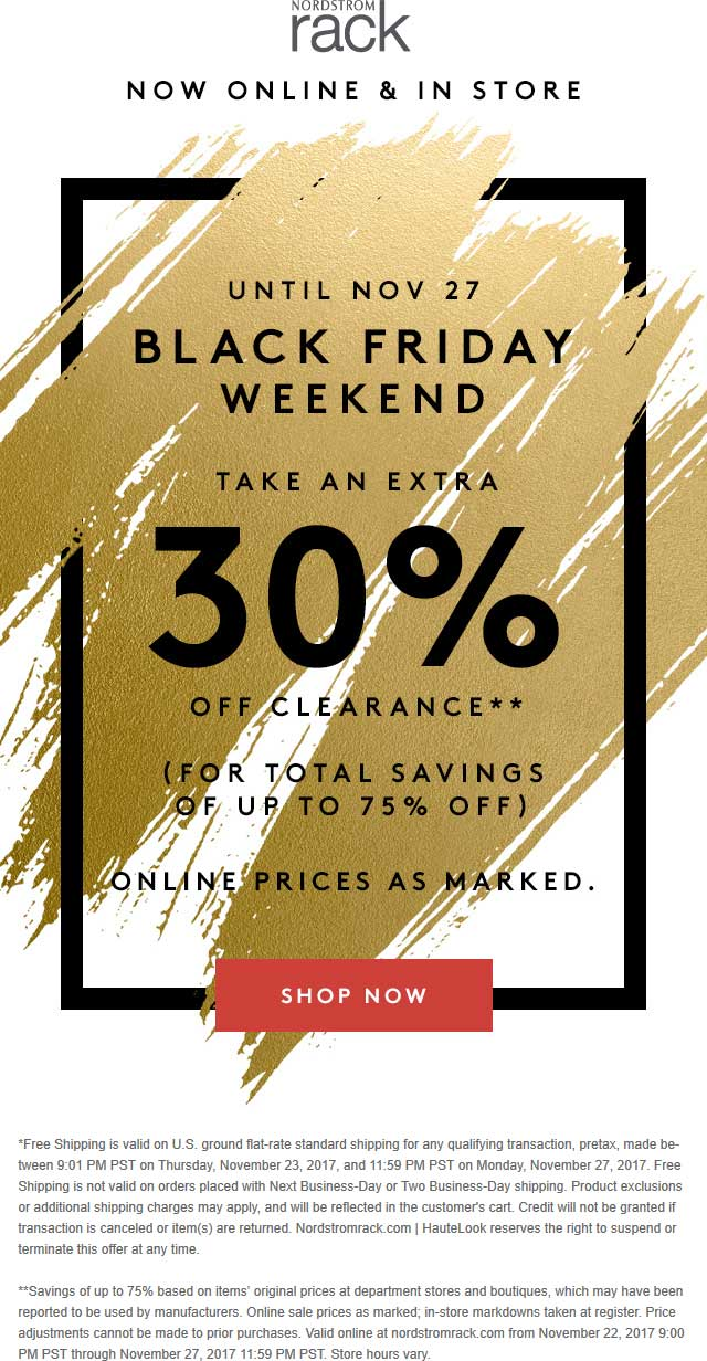 Nordstrom Rack Coupon December 2018 Extra 30% off clearance at Nordstrom Rack, ditto online