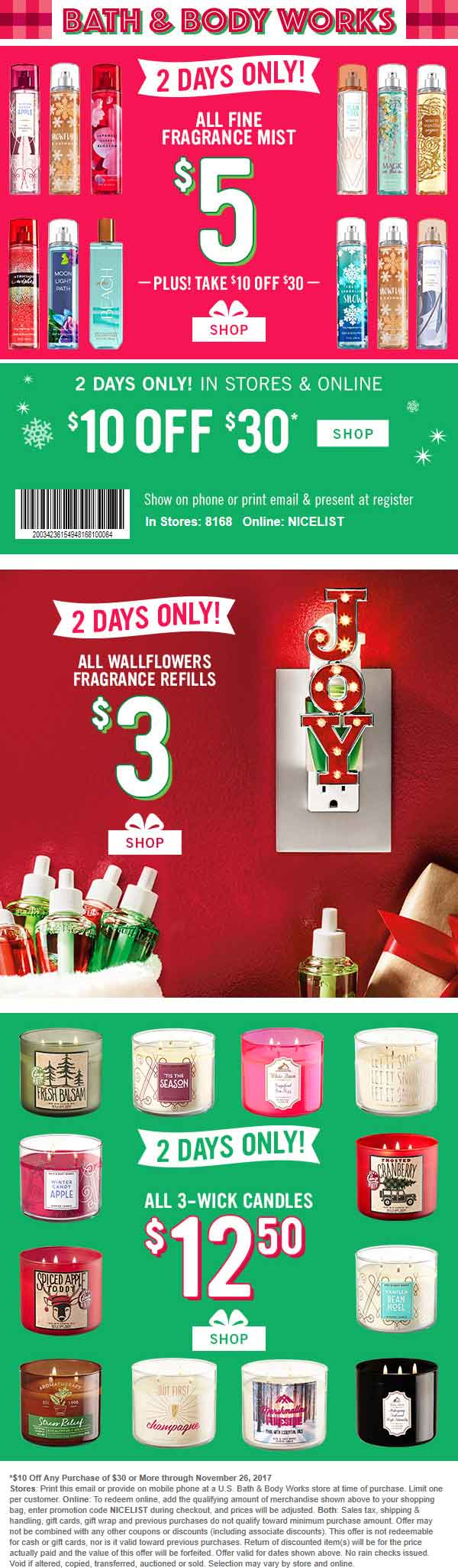Bath & Body Works Coupon August 2019 $10 off $30 at Bath & Body Works, or online via promo code NICELIST