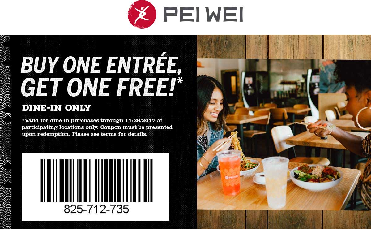 Pei Wei Coupon March 2019 Second entree free at Pei Wei