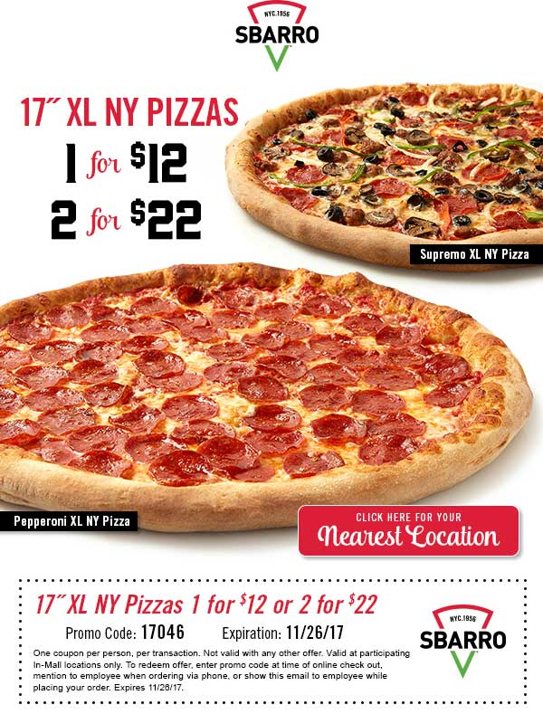 Sbarro Coupon December 2018 XL pizza = $12 & more at Sbarro restaurants