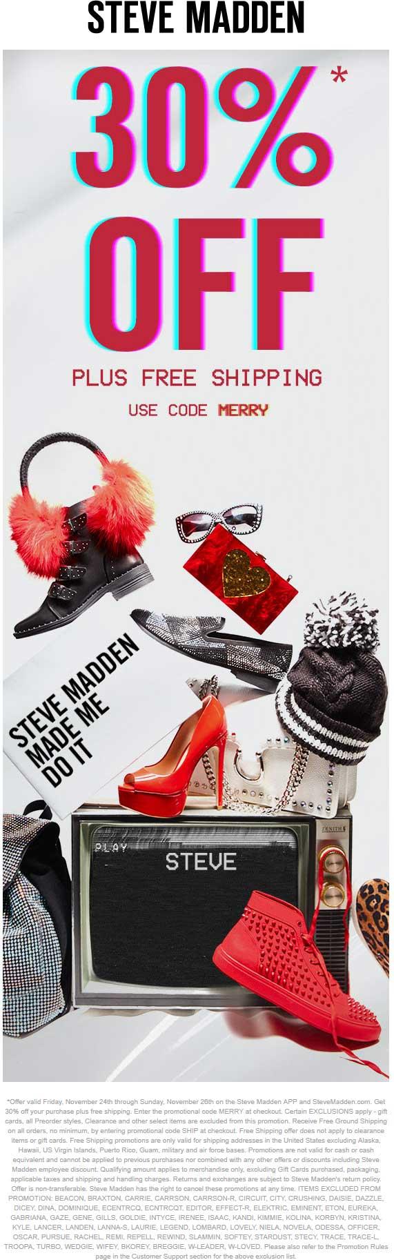SteveMadden.com Promo Coupon 30% off online + free ship at Steve Madden via promo code MERRY