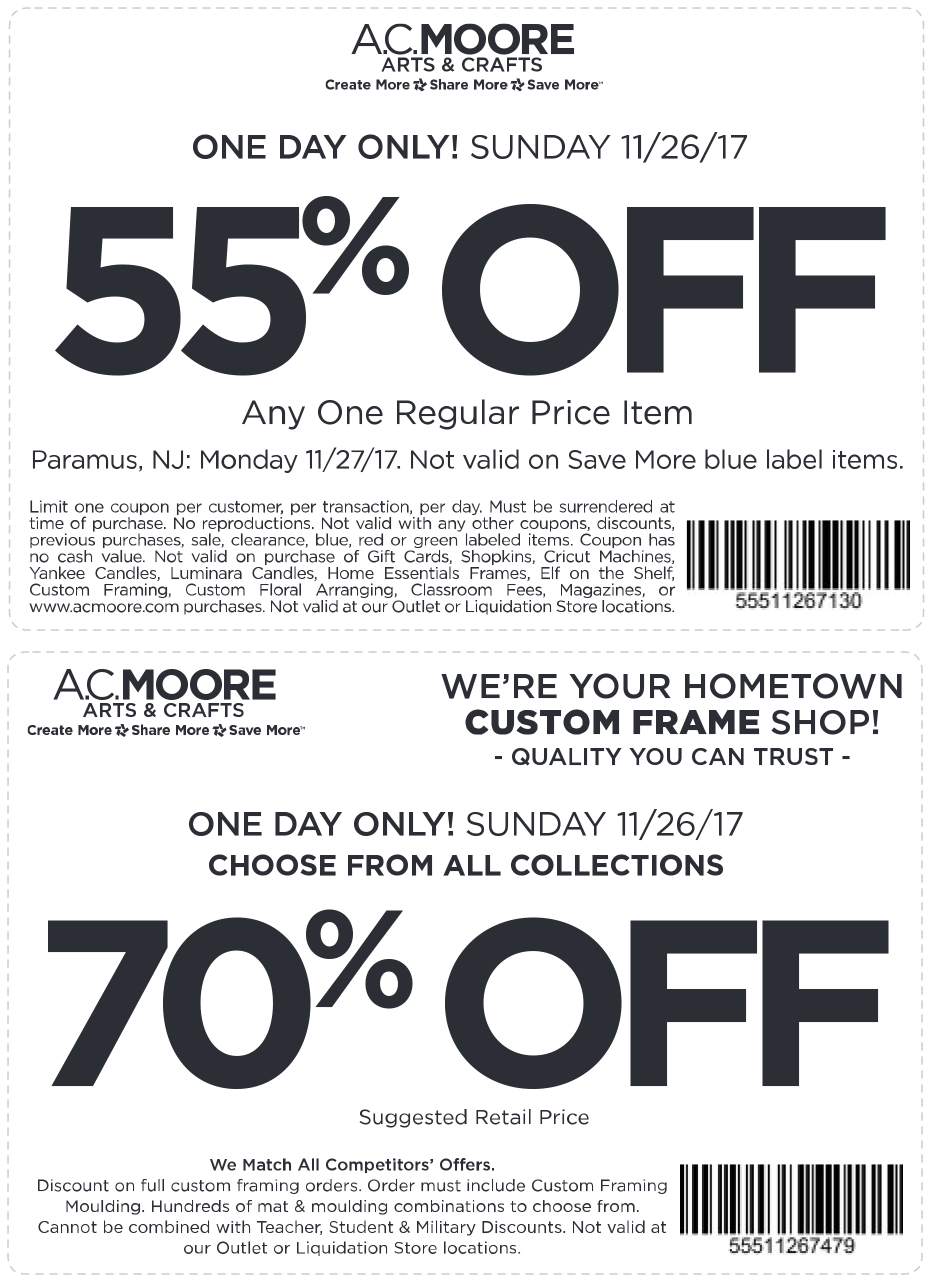 graphic regarding Ac Moore Printable Coupons called A.C. Moore Discount codes - 55% off a one merchandise at A.C. Moore crafts