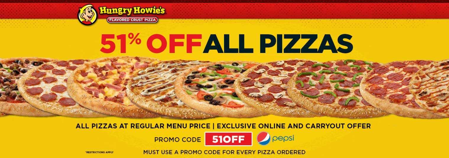 HungryHowies.com Promo Coupon 51% off at Hungry Howies pizza via promo code 51OFF