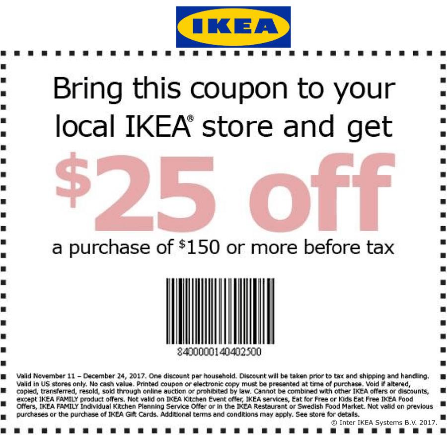 IKEA.com Promo Coupon $25 off $150 at IKEA furniture
