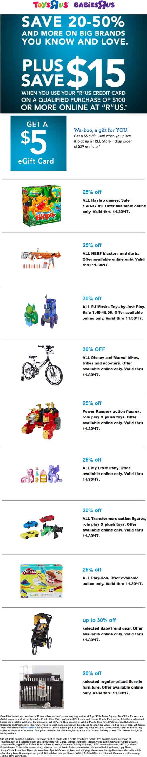 Toys R Us Coupon October 2018 $5 egift off $29 in-store pickup, 25% off games & more at Toys R Us