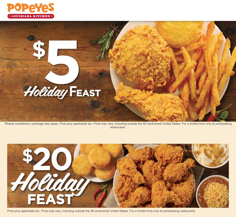 Popeyes Coupon April 2019 $5 & $20 holiday feast going on at Popeyes restaurants