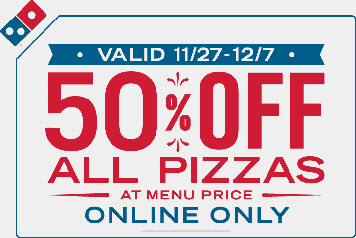 Dominos Coupon April 2018 50% off all pizzas online at Dominos