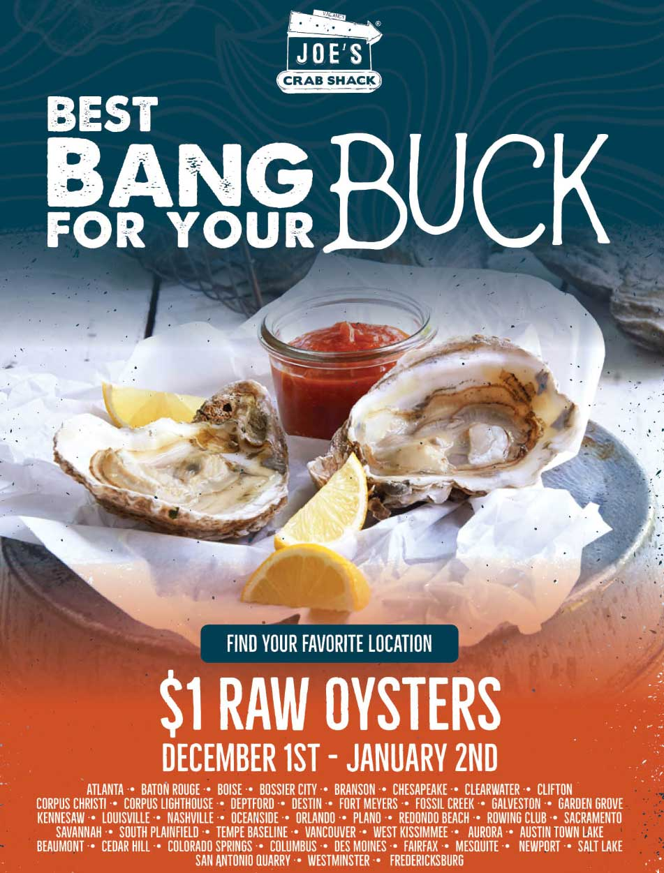 Joes Crab Shack Coupon February 2019 $1 oysters at Joes Crab Shack restaurant