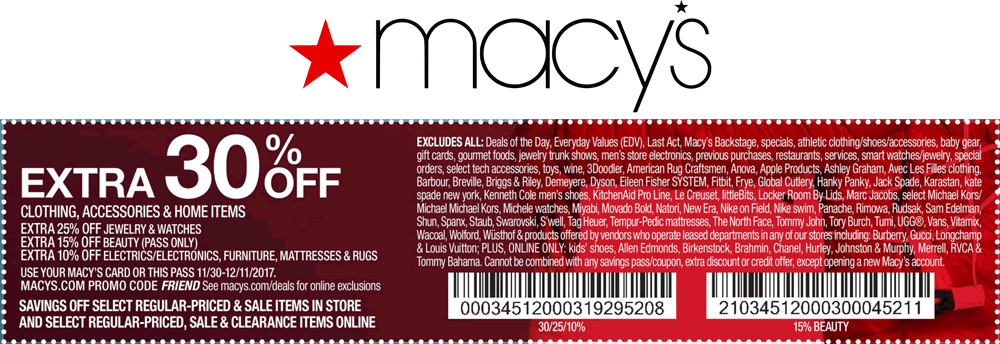 Macys Coupon December 2018 Extra 30% off at Macys, or online via promo code FRIEND