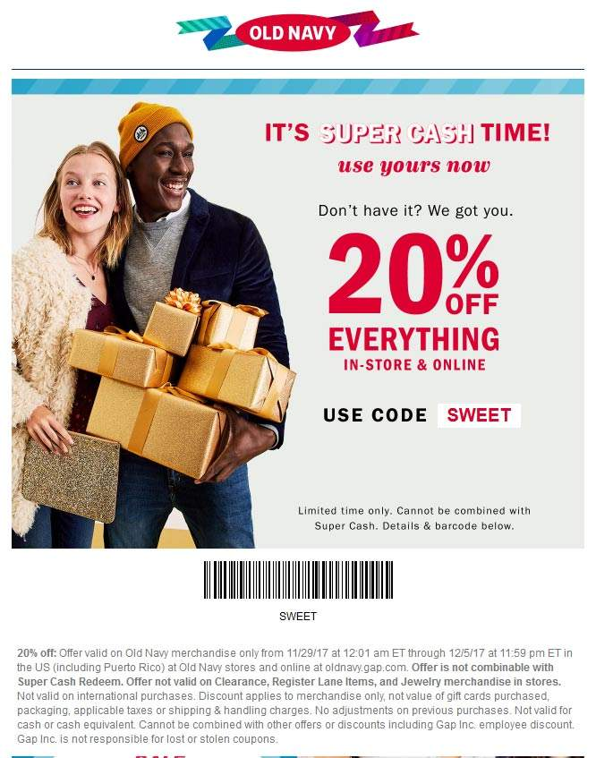 Old Navy Coupon March 2019 20% off everything at Old Navy, or online via promo code SWEET