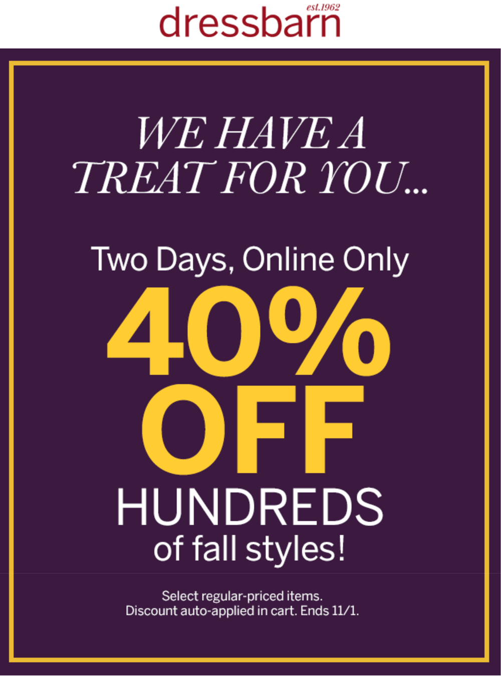 Dressbarn.com Promo Coupon 40% off fall online today at Dressbarn